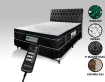 Colchão Magnético Massageador Bioquântico + Box + Cabeceira Completo Casal (1,38 x 1,88 m) Preto Cab. Preta - Allmag