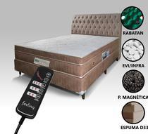 Colchão Magnético Massageador Energia Bioquântica + Box + Cabeceira Casal (1,38 x1,88 m) Bege Escuro - Allmag