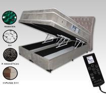 Colchão Magnético Queen Massageador Cromoterapia + Box Baú Bipartido + Cabeceira Completo Bege Claro - Allmag
