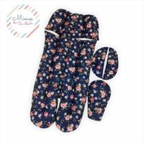 Colchonete Redutor Acessório para Bebê conforto e Carrinho Floral Azul Marinho - Mimos da Tia Idinha -