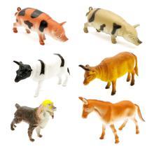 Coleção 6 Miniaturas Animais da Fazenda Sítio Brinquedo em Borracha - Farm Set - Barcelona