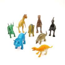 Coleção 8 Miniaturas Dinossauros Jurássicos Animais de Brinquedo em Borracha - Dino World - Barcelona