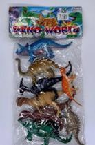 Coleção 8 Miniaturas Dinossauros Jurássicos Animais de Brinquedo em Borracha - Dino World - Dm Toys