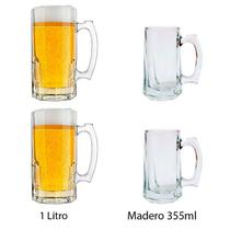 Coleção com  2 Canecas Oktoberfest Tarros 1 Litro + 2 canecas Madero 355ml - Libbey
