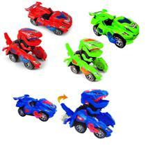 Coleção com 3 Carrinhos Transformers  Dinossauros Azul Vermelho e Verde - Barcelona