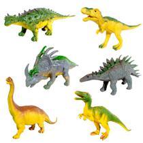 Coleção com 6 Dinossauros Jurássicos Realistas com Tiranossauro Rex - Goal Kids