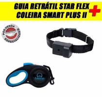 Coleira Smart Plus II Preta P+ Guia Retrátil Star Flex Azul - Amicus