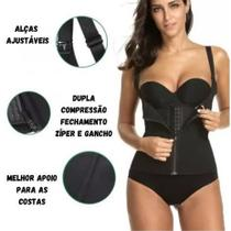 Colete Cinta Alça Ajustável Modeladora Cintura Dupla Compressão Zíper Colchete - S.Corset