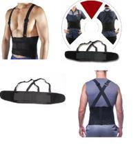 Colete corretor de postura ajustavel lombar cervical modelador cinta coluna abdominal ergonomico reforcada - Makeda