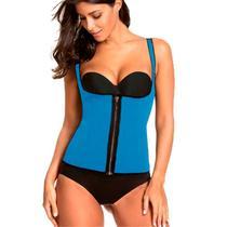 Colete Modelador Cinta Corselet Corset Neoprene Redutor de Medidas Hot Shapers Zíper Azul -