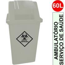 Coletor (Lixeira) Quadrado com Tampa Basculante Capacidade 60 Litros cor Branco c/ Adesivo Resíduos Hospitalares - Bralimpia