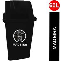 Coletor (Lixeira) Quadrado com Tampa Basculante Capacidade 60 Litros cor Preto c/ Adesivo Madeira - Bralimpia