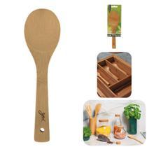 Colher De Bambu 23cm Espátula Madeira Utensílio Cozinha Gohan Tyft - Yoi -