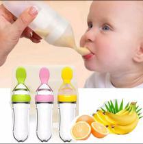 Colher Mamadeira Dosadora De Papinha Alimentação Para Bebês (ROSA) - Moonbiffy