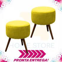 Combo 02 Puffs Redondo Nina Pés Madeira Suede Amarelo - Puff redondo nina