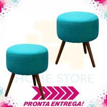 Combo 02 Puffs Redondo Nina Pés Madeira Suede Azul Turquesa - Puff redondo nina