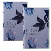 Combo 2 Bíblias Sagradas  Floral  Soft Touch  Slim  Letra Normal - Livro Cristão