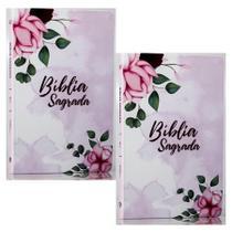 Combo 2 Bíblias Sagradas  Pétalas  Soft Touch  Slim  Letra Normal - Livro Cristão
