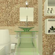 Combo 2 em 1 gabinete de vidro 40cm ac com cuba quadrada  - incolor + torneira algarve - Cubas e Gabinetes