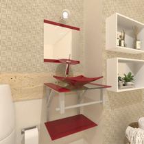 Combo 2 em 1 gabinete de vidro 40cm ac com cuba quadrada + torneira ibiza - vermelho cereja - Cubas E Gabinetes