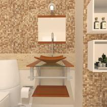 Combo 2 em 1 Gabinete de Vidro 40cm para banheiro Quadrado Armênia + Torneira Algarve - Ekasa