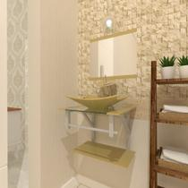 Combo 2 em 1 Gabinete de Vidro 45cm para Banheiro Cuba Retangular - Bielorrússia + Torneira Ibiza - Ekasa