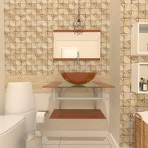 Combo 2 em 1 gabinete de vidro 60cm ac com cuba redonda + torneira algarve - dourado real - Ekasa