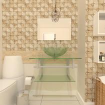 Combo 2 em 1 gabinete de vidro 60cm ac com cuba redonda + torneira algarve - incolor - Ekasa