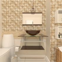 Combo 2 em 1 gabinete de vidro 60cm ac com cuba redonda + torneira algarve - marrom - Ekasa