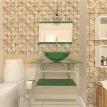 Combo 2 em 1 gabinete de vidro 60cm ac com cuba redonda + torneira algarve - verde - Ekasa