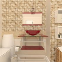 Combo 2 em 1 gabinete de vidro 60cm ac com cuba redonda + torneira algarve - vermelho cereja - Ekasa