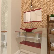 Combo 2 em 1 gabinete de vidro 60cm ac com cuba retangular + torneira algarve - vermelho cereja - Cubas E Gabinetes