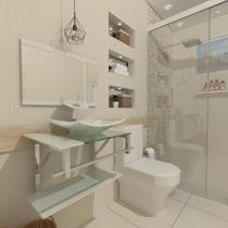 Combo 2 em 1 gabinete de vidro 60cm iq inox com cuba quadrada + torneira ibiza - branco - Cubas E Gabinetes