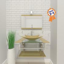 Combo 2 em 1  Gabinete de Vidro 60cm para banheiro Cuba Retangular San Marino + Torneira Algarve - Ekasa