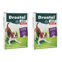 Combo 2 unidades Vermífugo Bayer Drontal Plus Sabor Carne - Cães 10 kg - 4 comprimidos -