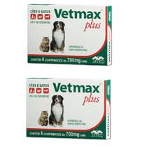 Combo 2 unidades Vetmax Plus 700mg 4 comprimidos Vermífugo Cães e Gatos - Vetnil -