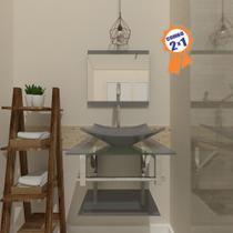 Combo 2 x 1 Gabinete de Vidro 45cm para Banheiro Cuba Quadrada - Escócia + Torneira Algarve - Ekasa