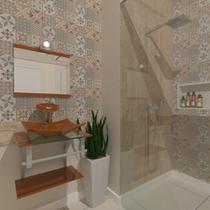 Combo 2 x 1 Gabinete de Vidro 45cm para Banheiro Cuba Quadrada - Escócia + Torneira Ibiza - Ekasa
