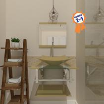 Combo 2 x 1 Gabinete de Vidro 45cm para Banheiro Cuba Retangular - Bielorrússia + Torneira Algarve - Ekasa