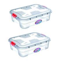 Combo 2un caixas organizadoras multiuso transparente 28 litros uninjet -