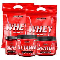 Combo 2x Whey Protein Iso/Conc Bcaa Creatina Glutamina - Integral Médica