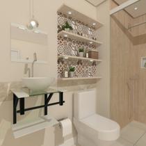 Combo 2x1 gabinete de vidro 40cm ap com cuba redonda branco + torneira cromada - Cubas E Gabinetes