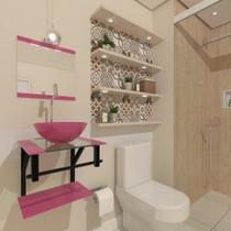 Combo 2x1 gabinete de vidro 40cm ap com cuba redonda rosa + torneira cromada - Cubas E Gabinetes