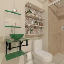 Combo 2x1 gabinete de vidro 40cm ap com cuba redonda verde + torneira cromada - Cubas E Gabinetes