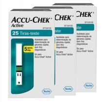 Combo 3 ACCU-CHEK ACTIVE GLICOSE 25 TIRAS-TESTE cada - Para o controle da Diabetes - ROCHE