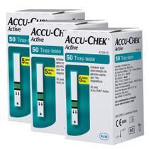 Combo 3 ACCU-CHEK ACTIVE GLICOSE 50 TIRAS-TESTE cada-Para o controle da Diabetes - ROCHE