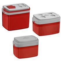 Combo 3 Caixa Térmica 32, 12, 5 L Vermelha  Cooler Soprano -