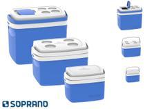 Combo 3 Cooler 32, 12 E 5 Litros Caixa Termica Soprano Azul -