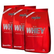 Combo 3 - Nutri Whey Protein - Refil Chocolate, Baunilha, Morango 907g - Integralmédica - Integral Médica