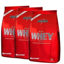Combo 3 - Nutri Whey Protein - Refil Morango 907g - Integralmédica - Integral Médica